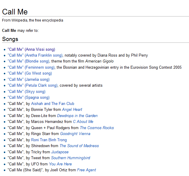 "21 songs with the title ""Call Me"""